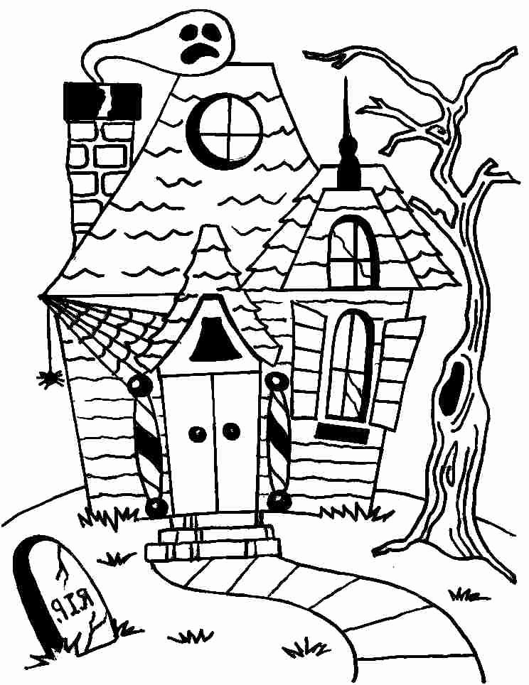 House Drawing Color: Simple Haunted House Drawing