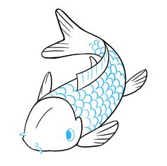 Simple Koi Fish Drawing Free Download Best Simple Koi Fish