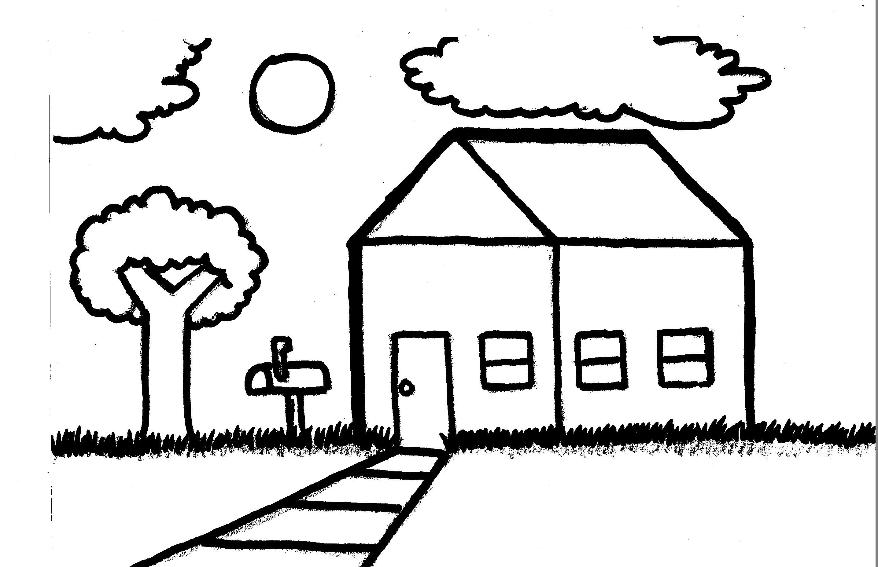 Simple Line Drawing Of A House