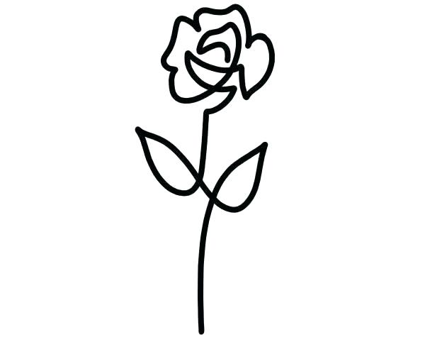 600x475 Simple Rose Outline Simple Flower To Draw Flower Drawing Outline