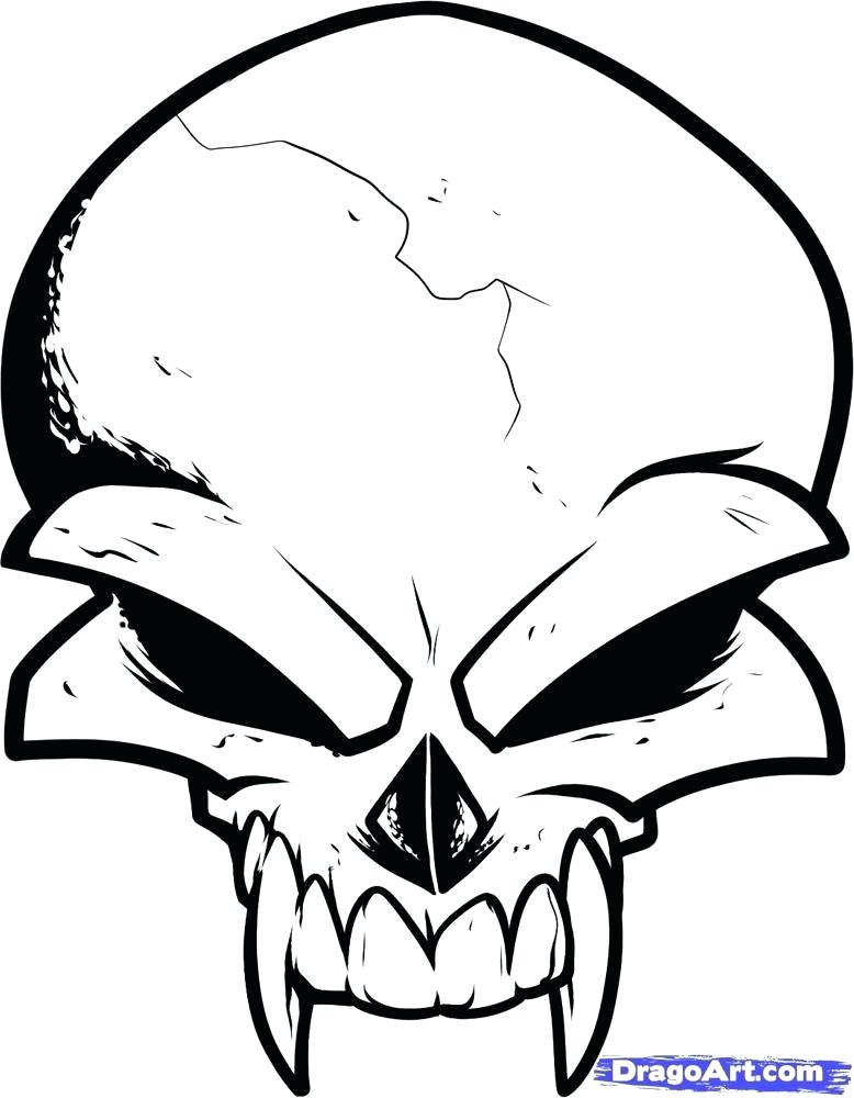 778x1000 How To Draw A Simple Skull How To Draw Scary Creepy Angry Evil