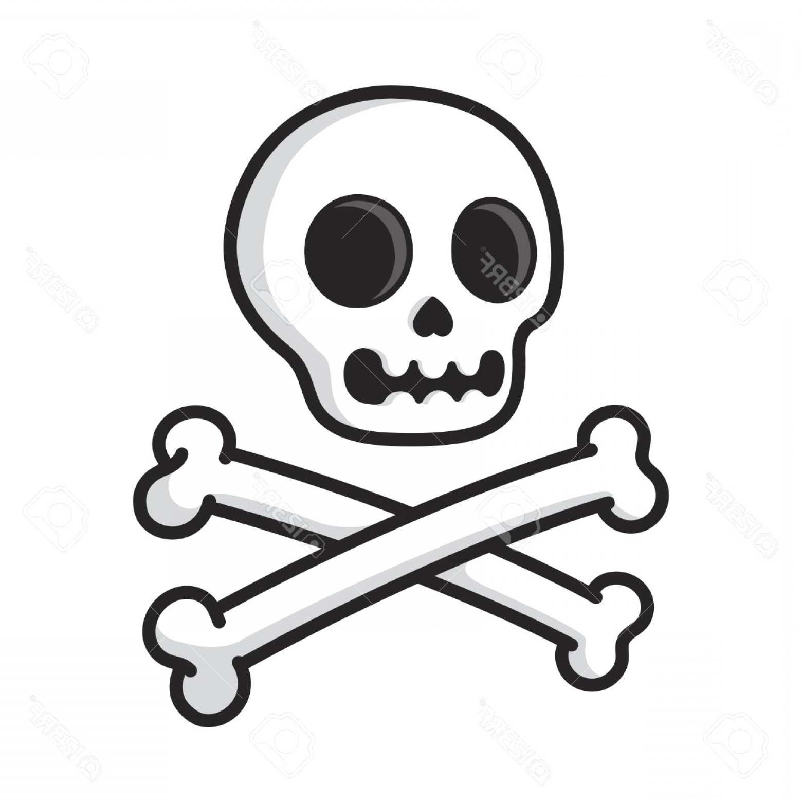 1560x1560 Simple Cartoon Skull And Crossbones Isolated On White Modern Comic
