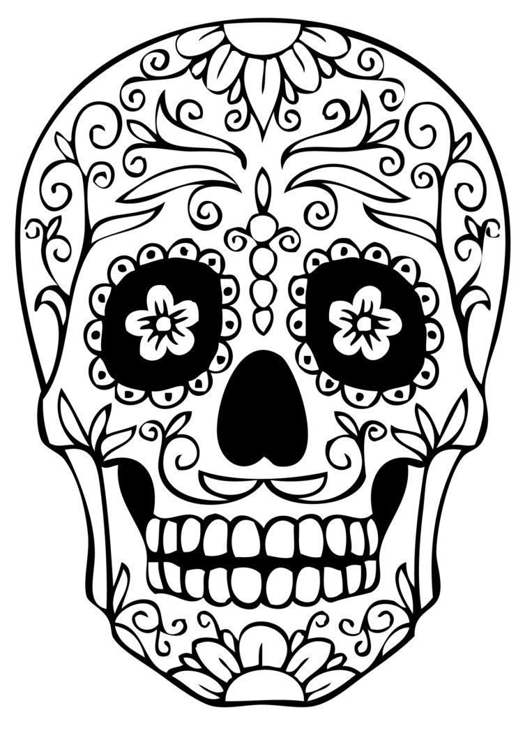 763x1080 Simple Sugar Skull Coloring Pages Http Colorings Co