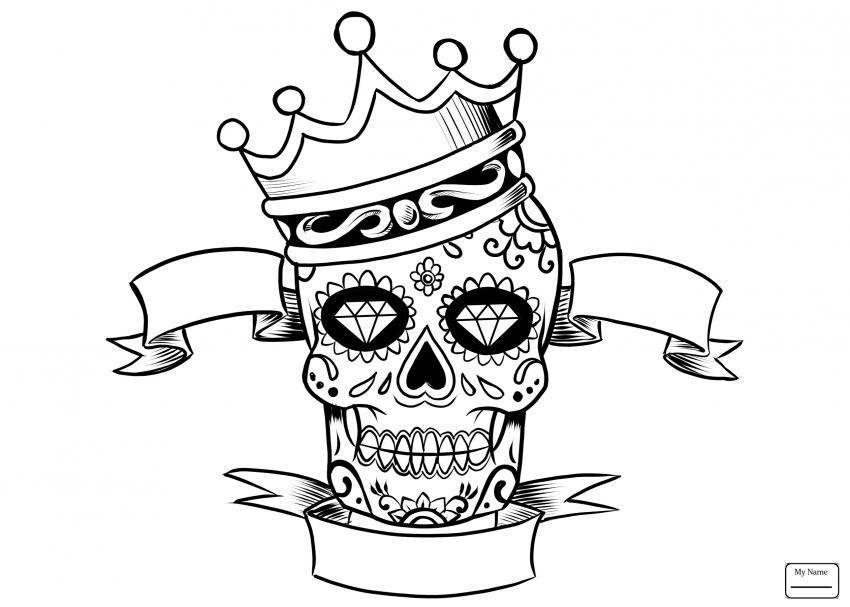 850x607 Coloring Pages Free Printable Sugar Skull Splendi For Kids Image