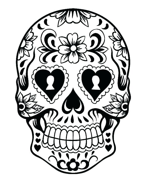 600x750 Coloring Pages Skull Simple Sugar Skull Coloring Pages Coloring