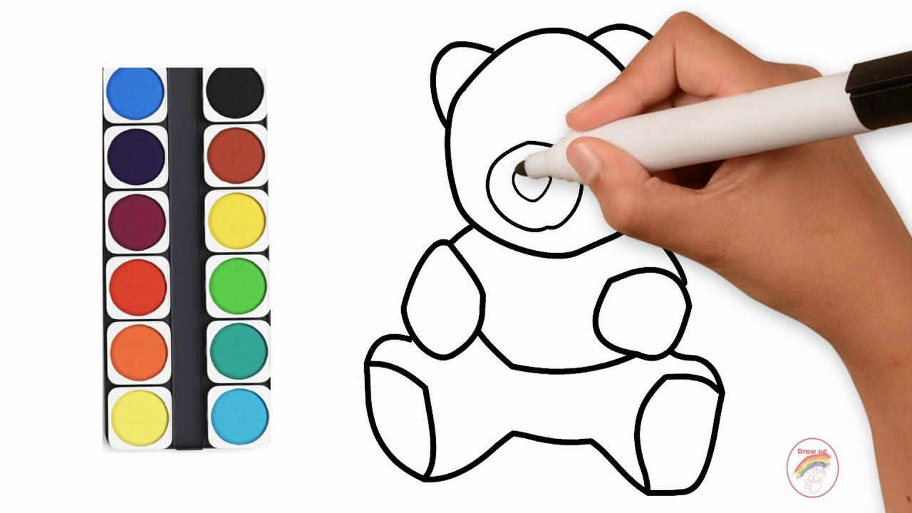 1280x720 Simple Teddy Bear Drawing And Coloring For Kids Drawing X