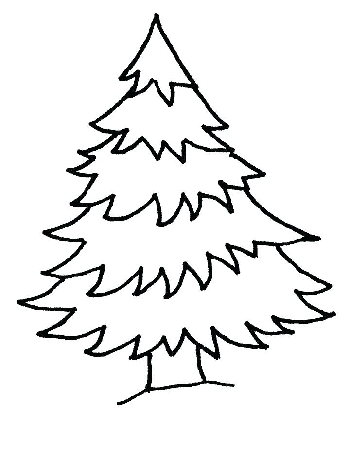 718x957 Collection Christmas Tree Line Drawing Pictures