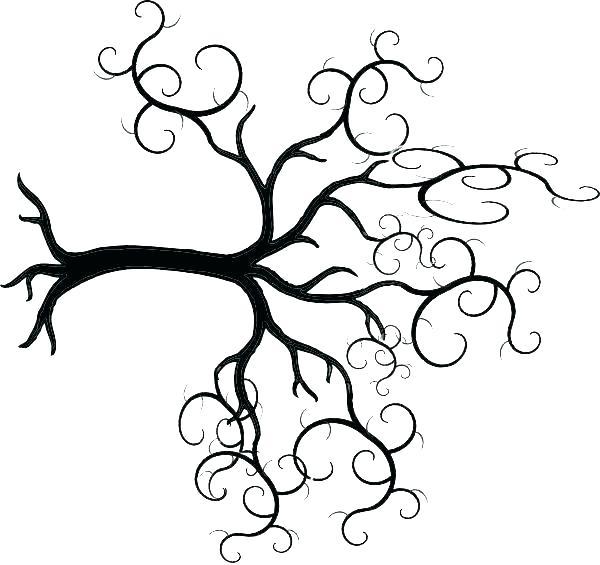 600x565 Oak Tree Line Drawing