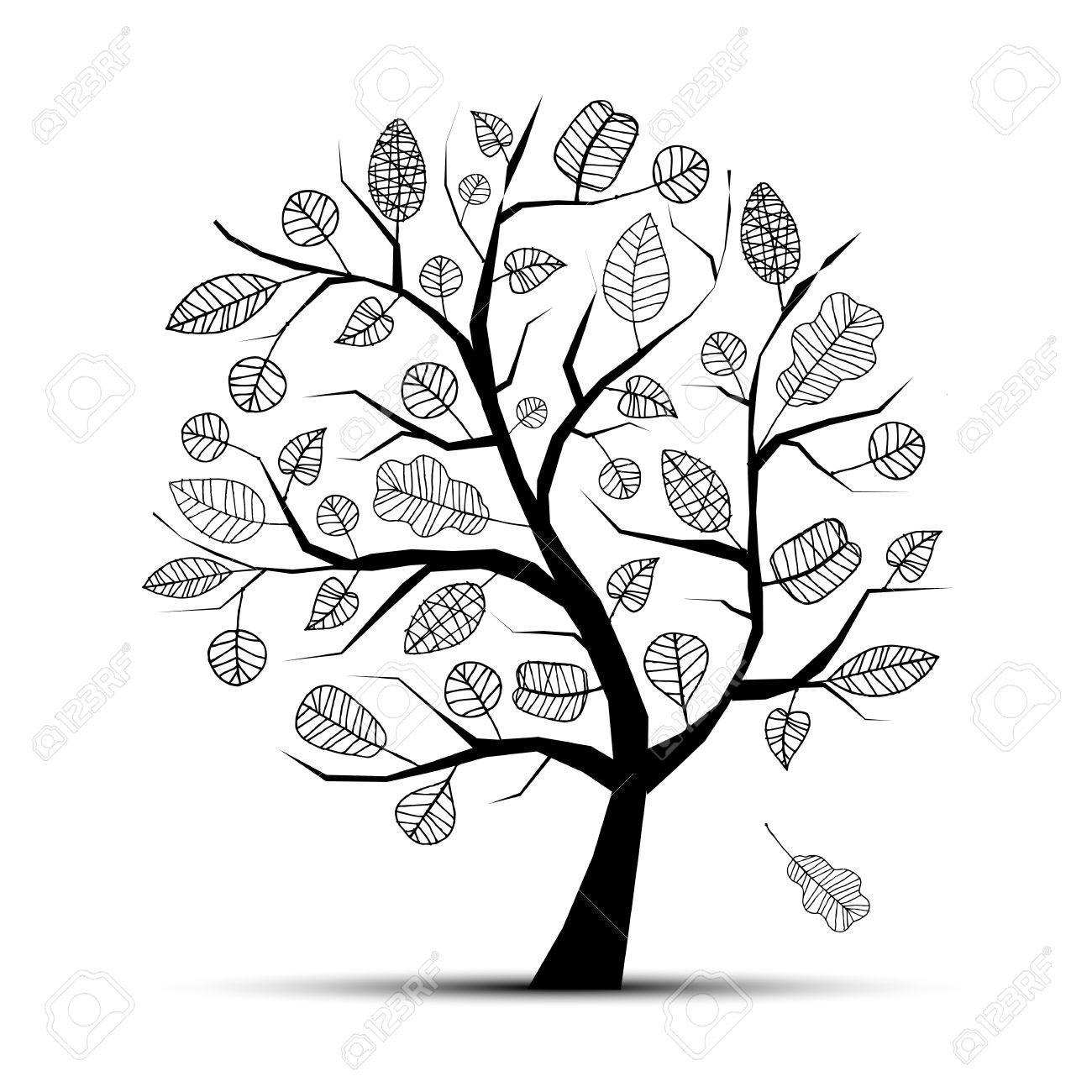 1300x1300 Collection Of 'line Drawing Of Tree' Download More Than Images