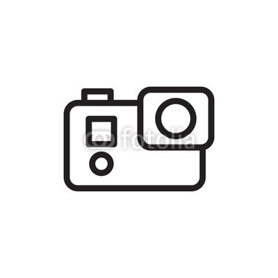 400x400 action camera, video camera outlined vector icon modern simple