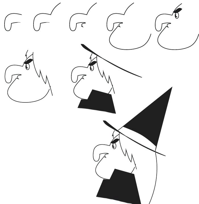 700x715 how to draw a witch drawing witch learn how to draw a witch