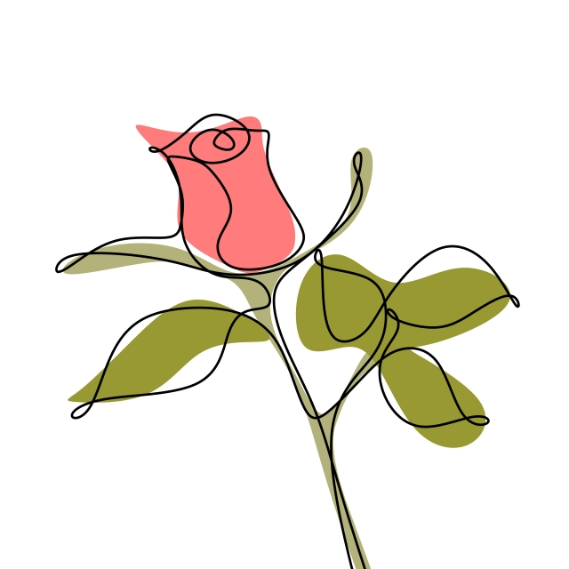 640x640 Minimalist Rose Hand Drawn Single Line Continuous Style With Color