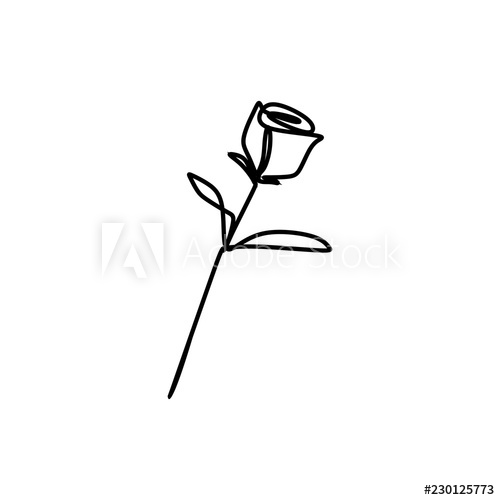 500x500 Rose Drawing Vector Using Continuous Single One Line Art Style