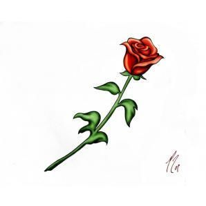 298x298 Simple Rose With Stem Tattoos Ideas And Designs