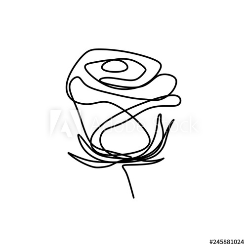 500x500 Rose Flower One Line Art Single Drawing Vector Illustration