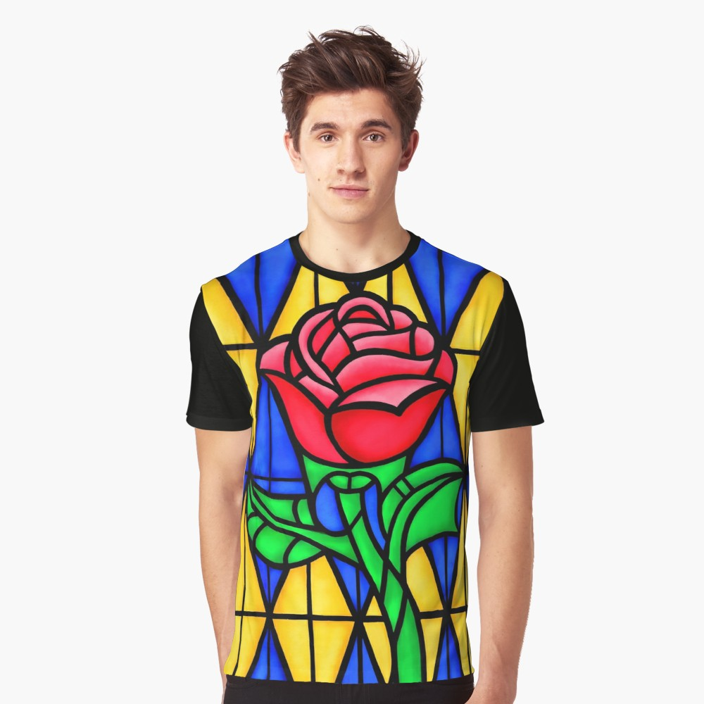 1000x1000 A Single Rose In The Stained Glass Window T Shirt