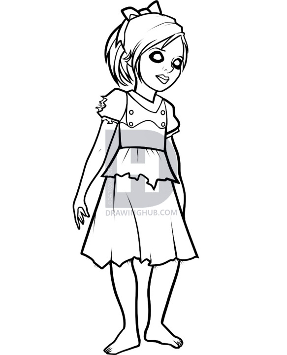 583x720 how to draw little sister, little sister, bioshock, step