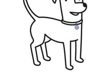 360x240 modern contemporary dog sitting down drawing decor dog collar