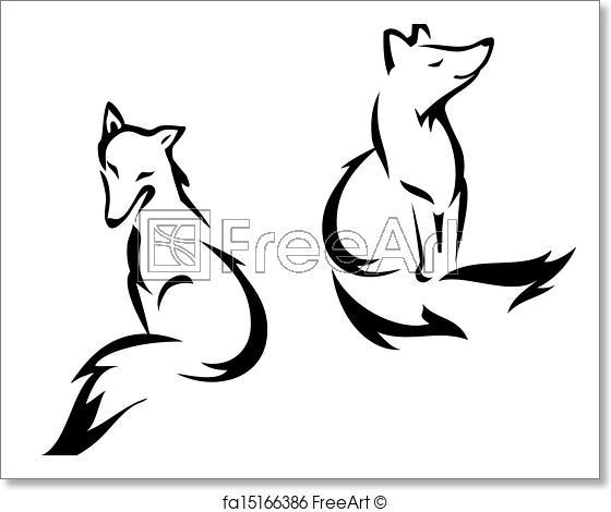 560x470 Free Art Print Of Sitting Fox Fox Outline Graphic, Vector