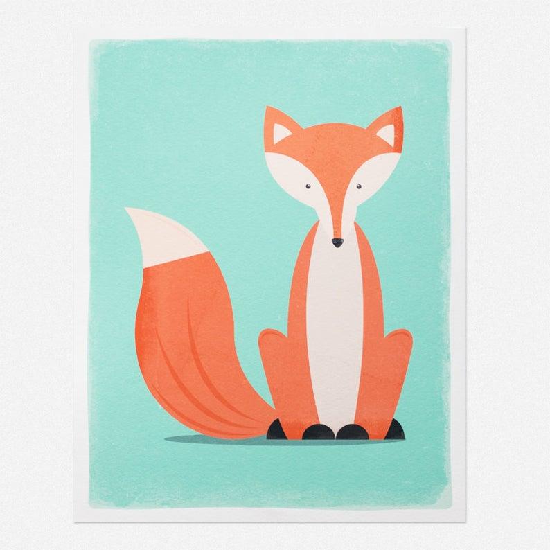 794x794 Sitting Fox Art Print X X Etsy