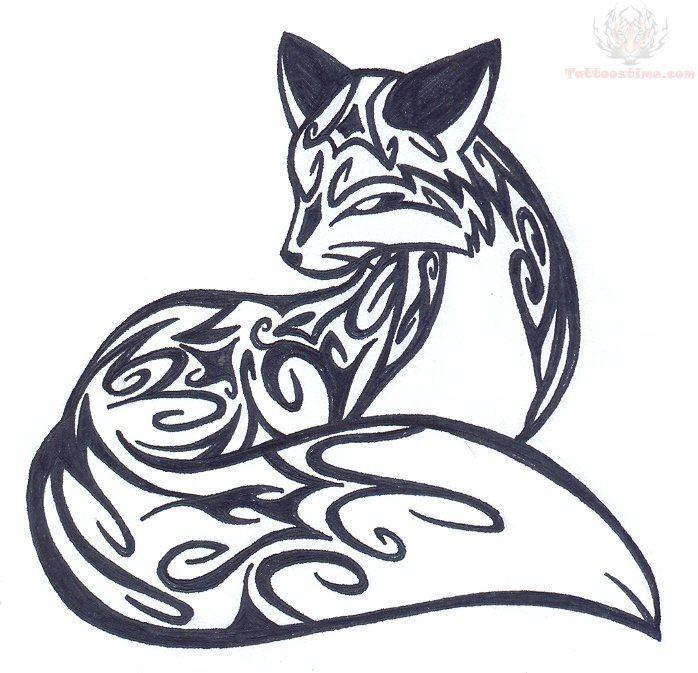 698x673 Sitting Fox Tribal Tattoo Design Tattoo Tattoos, Fox Tattoo
