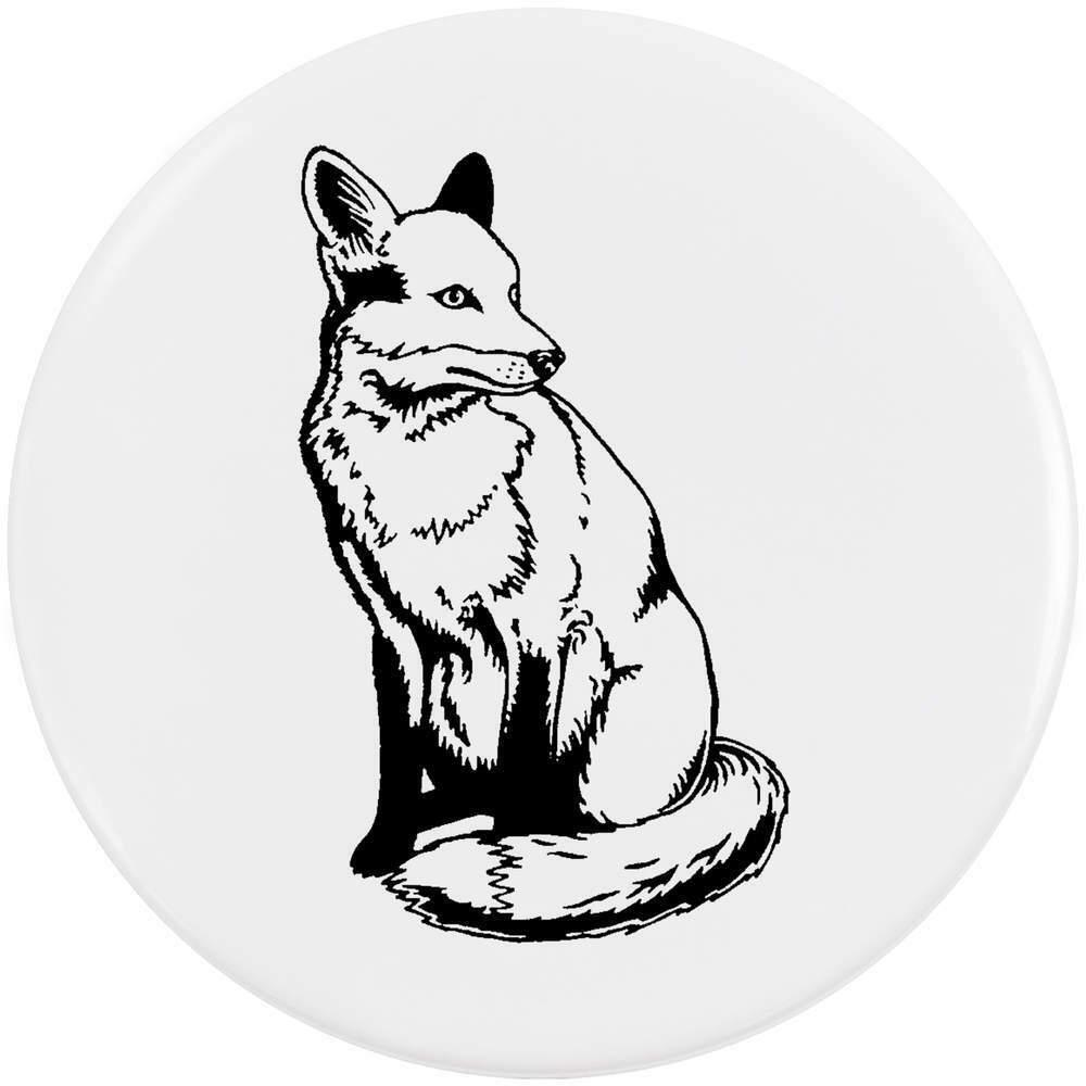 1000x1000 'sitting Fox' Medium Button Pin Badge