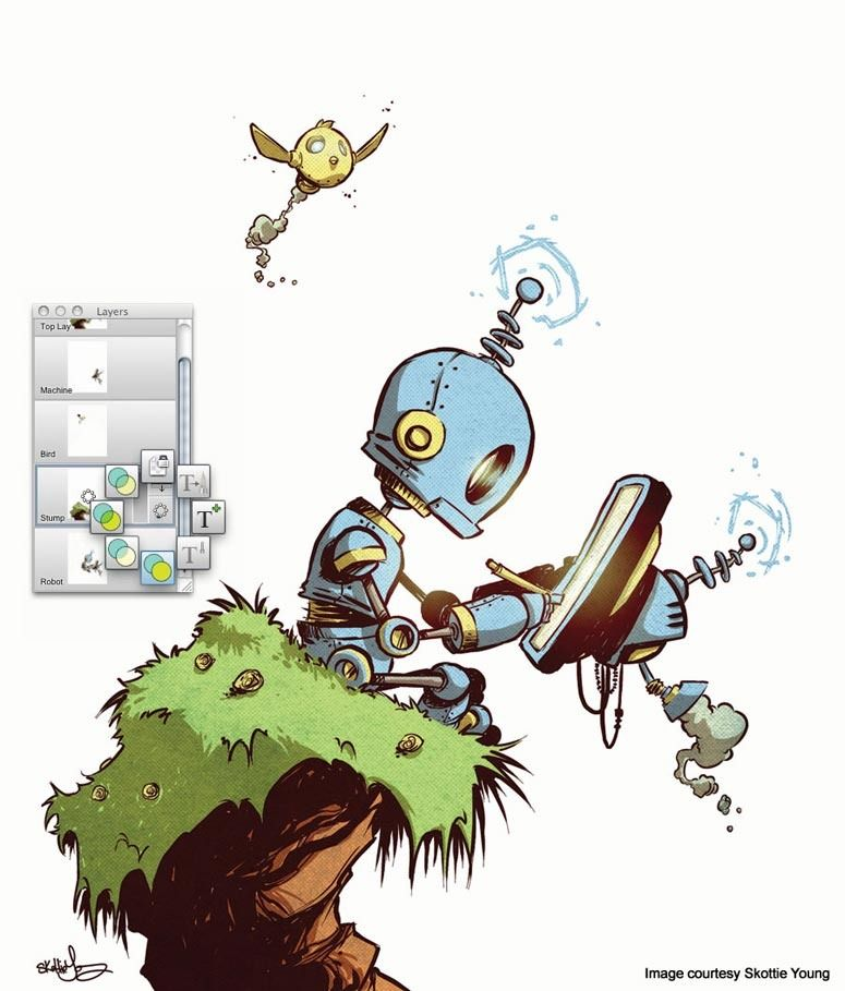 775x909 skottie young oh no, robo! skottie young, sketchbook express, art