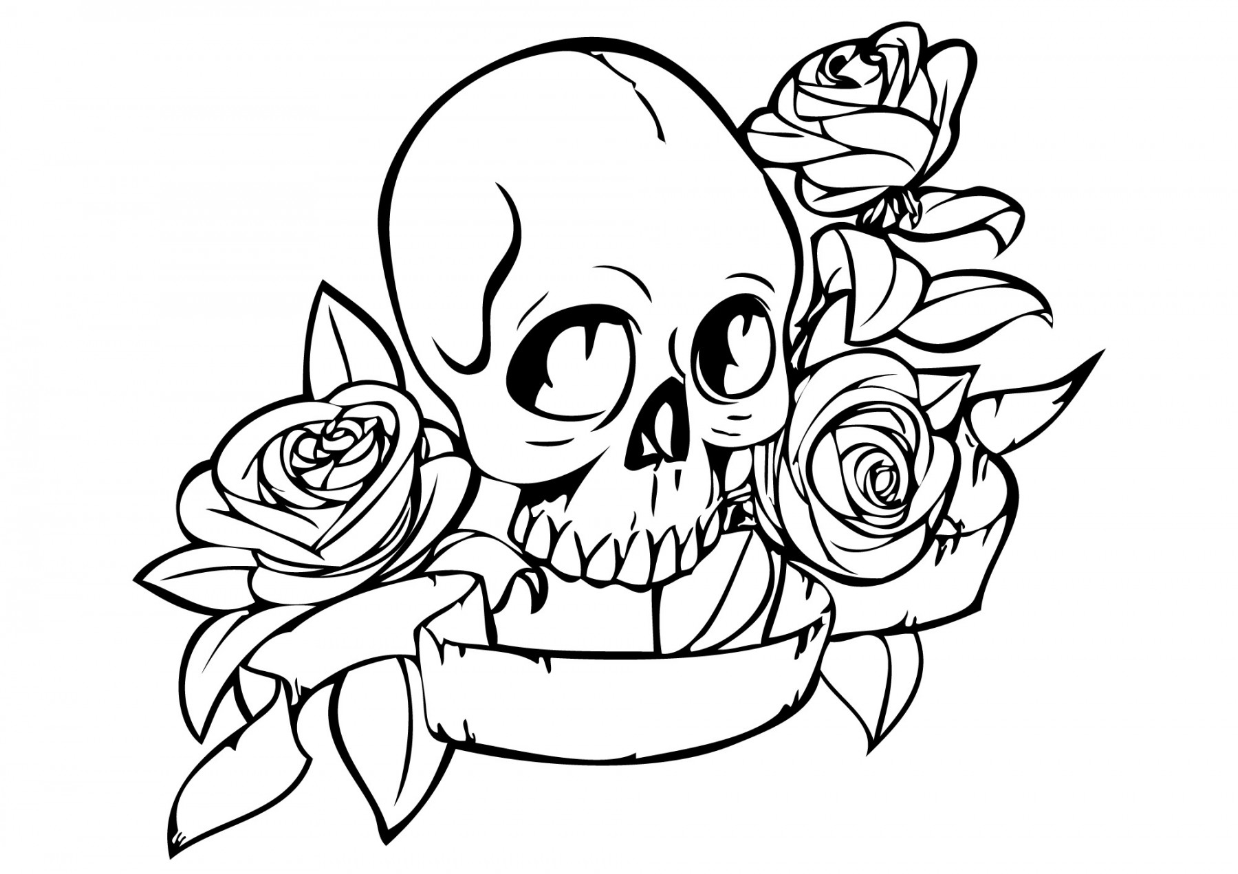 Skull And Rose Drawing Free Download Best Skull And Rose Drawing