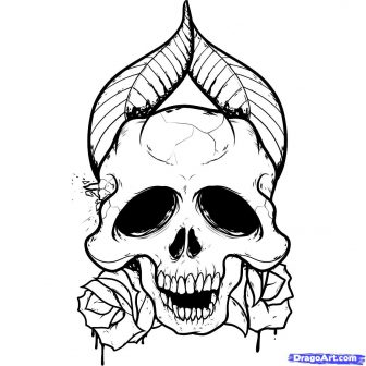 336x336 Drawings Of And Flames Cool Easy Flowers Skull Art Ajedrezdeen