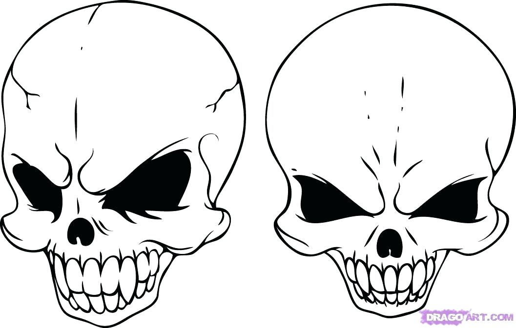 1057x673 How To Draw A Simple Skull Skull Drawing Art Simple Line Best