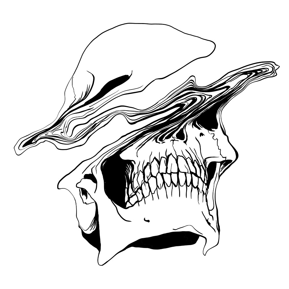 1000x1000 Liquify Skull Drawing