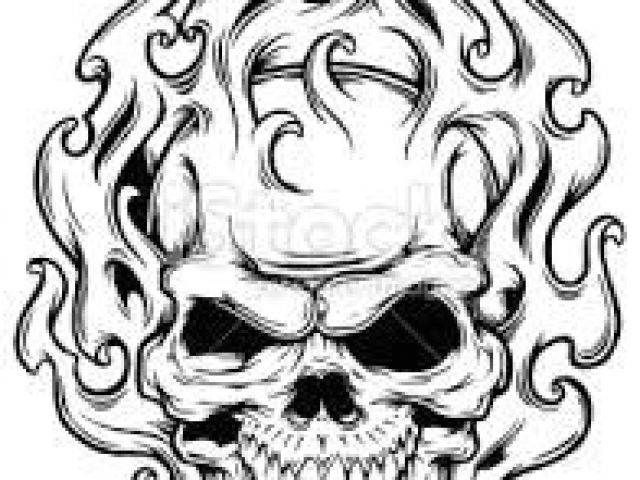 640x480 Skull Drawing Flaming Best Skulls And Flames Images