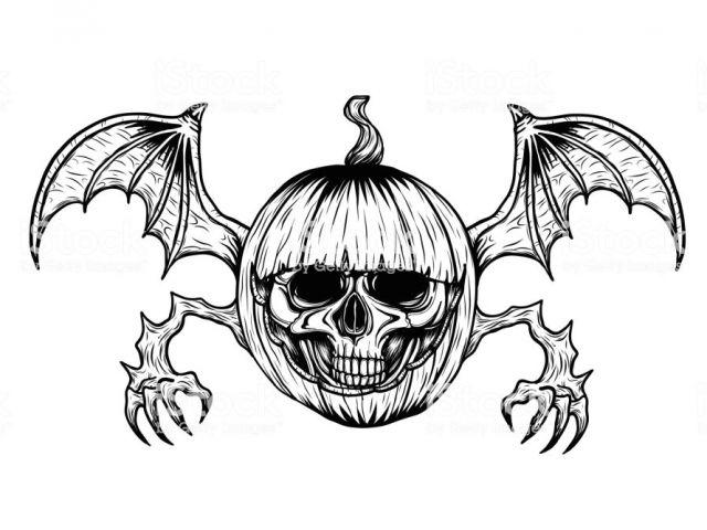 640x480 Skull Drawing For Pumpkin Skull With Halloween Pumpkin Tattoo