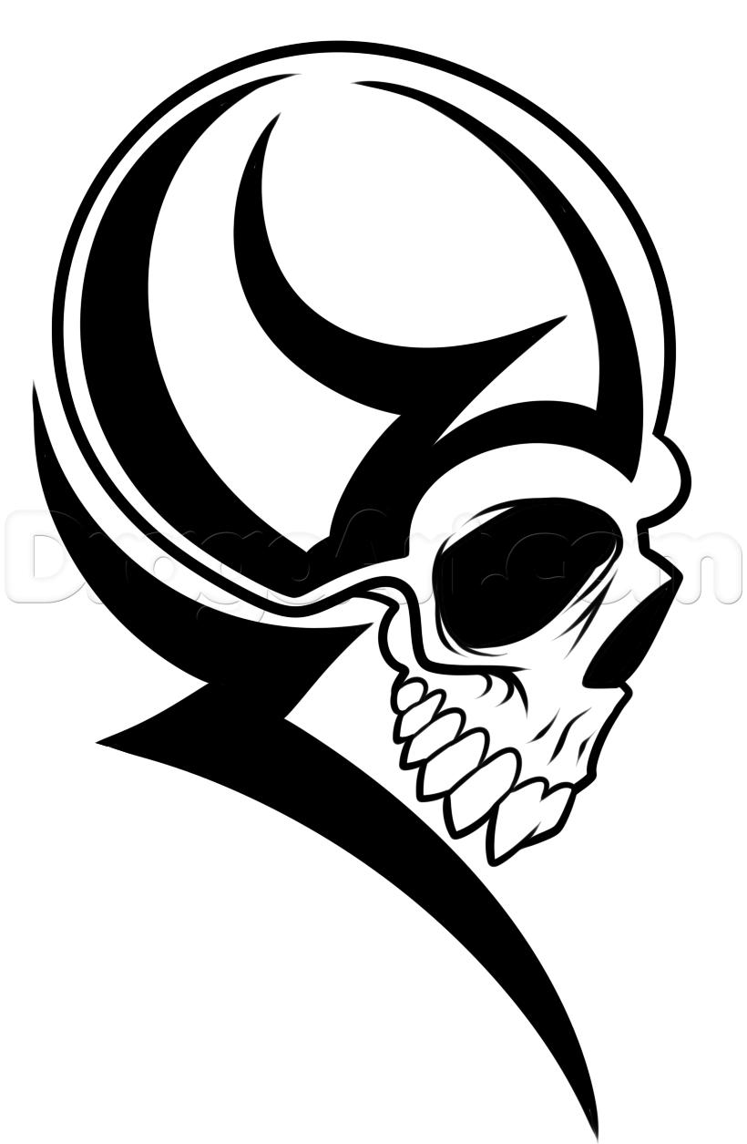 820x1255 How To Draw A Tribal Skull Head Step Interest Art Types