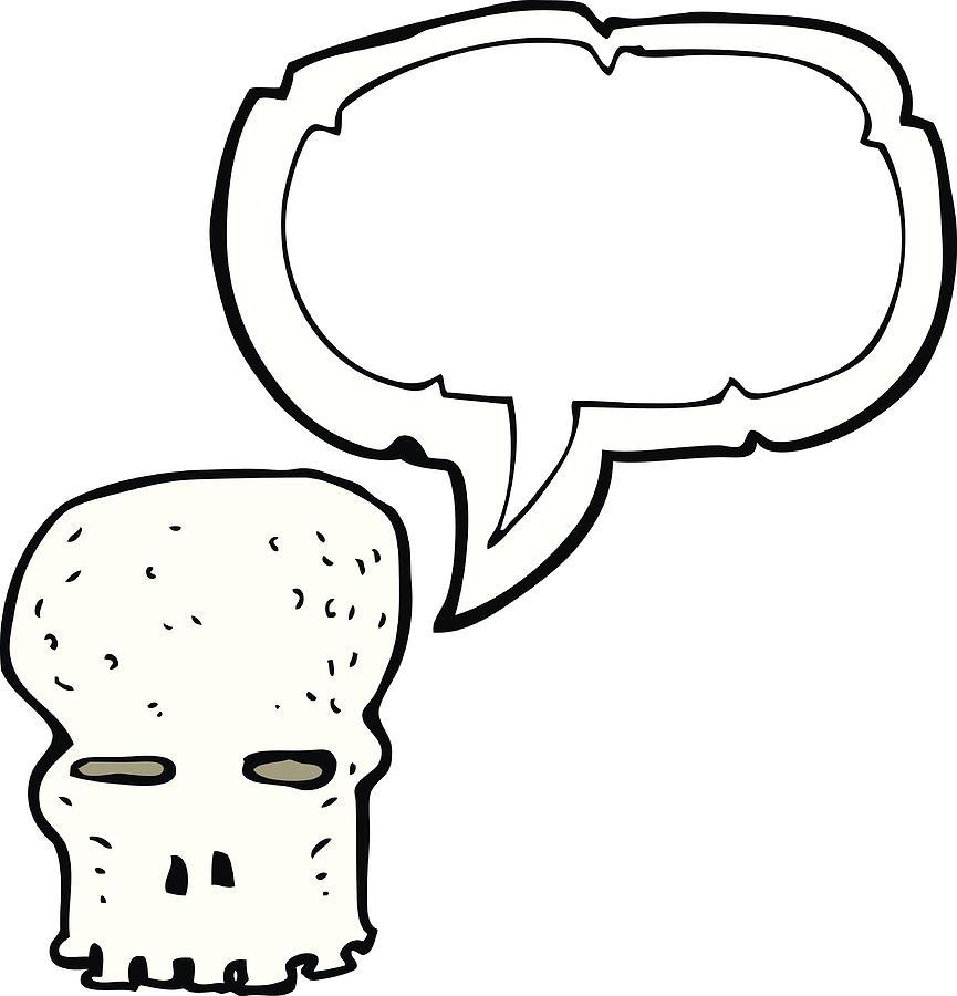 865x900 Cartoon Spooky Skull With Speech Bubble Drawing