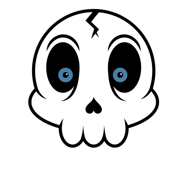 599x569 Create A Cartoon Skull Sticker In Illustrator