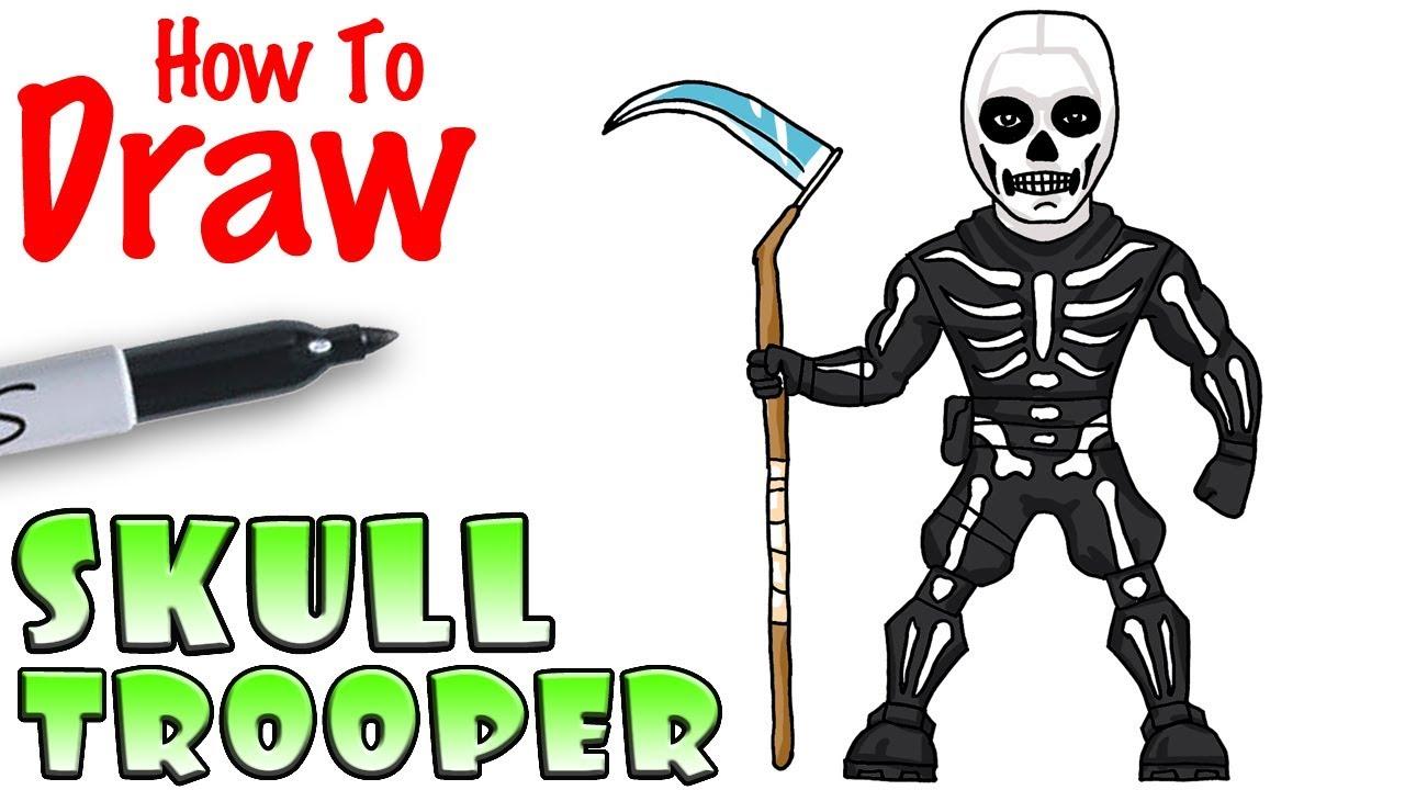 1280x720 How To Draw Skull Trooper Fortnite