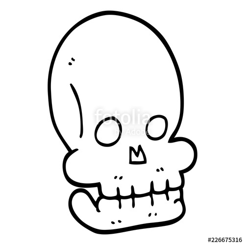 500x500 Line Drawing Cartoon Funny Skull Stock Image And Royalty Free