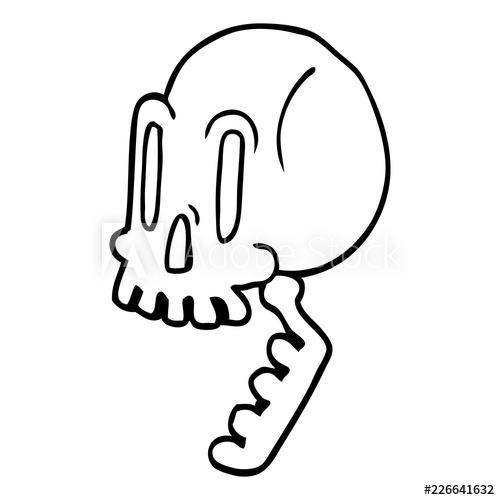 500x500 Line Drawing Cartoon Green Skull