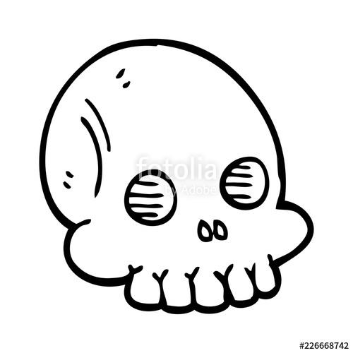 500x500 Line Drawing Cartoon Halloween Skull Stock Image And Royalty Free