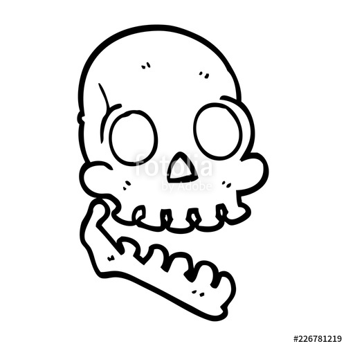 500x500 Line Drawing Cartoon Happy Skull Stock Image And Royalty Free