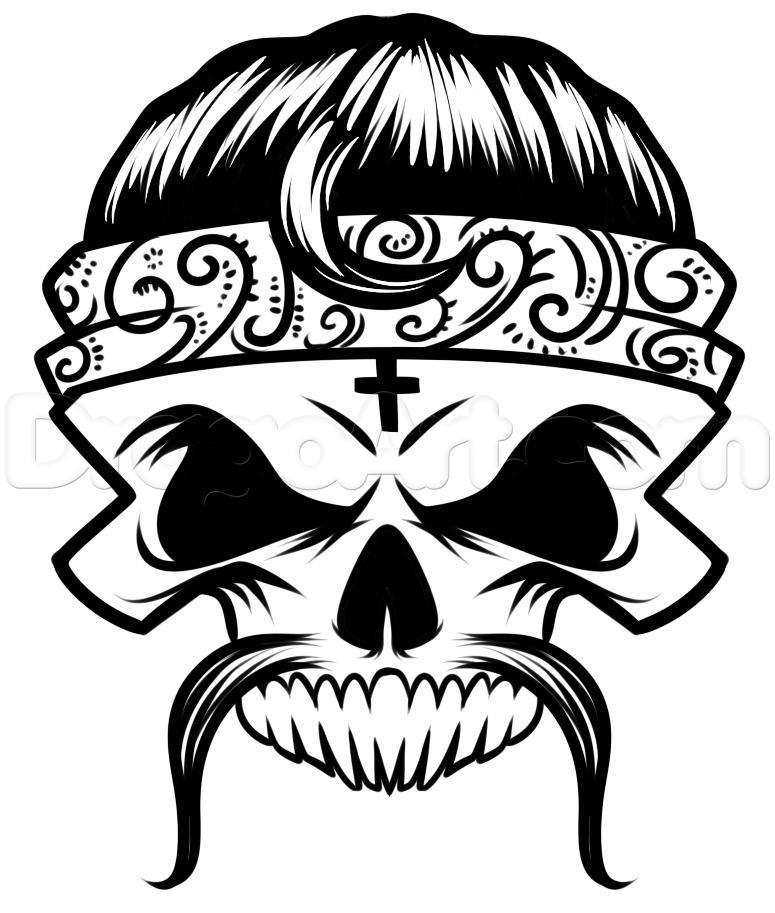 775x913 Cholo Skull Drawing Tutorial, Step