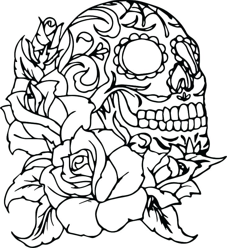 731x800 Skulls And Roses Coloring Pages Running