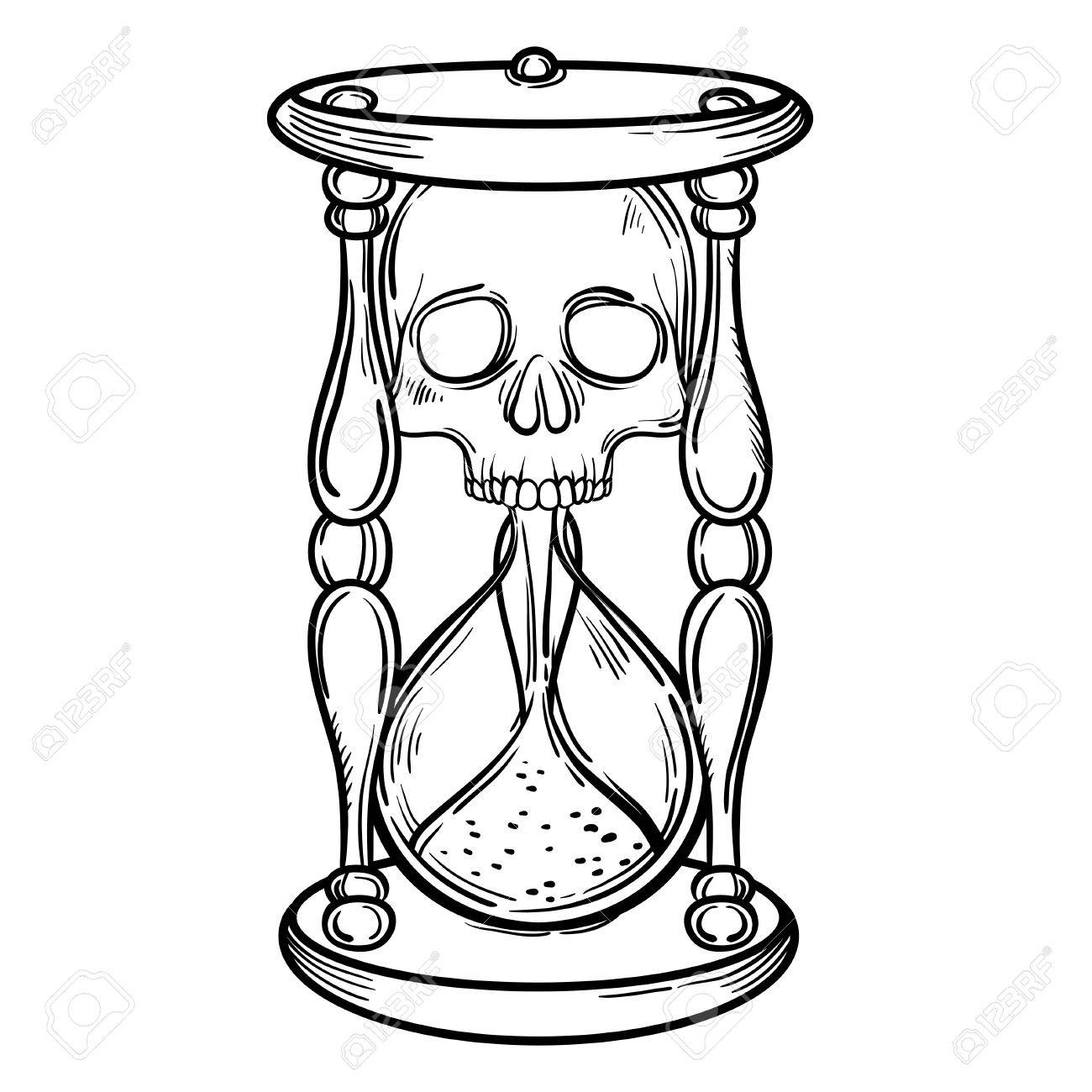 1300x1300 Hourglass Drawing Skull For Free Download