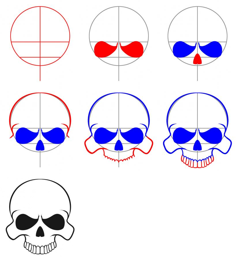 825x906 How To Draw An Easy Skull How To In Drawings, Skull Art