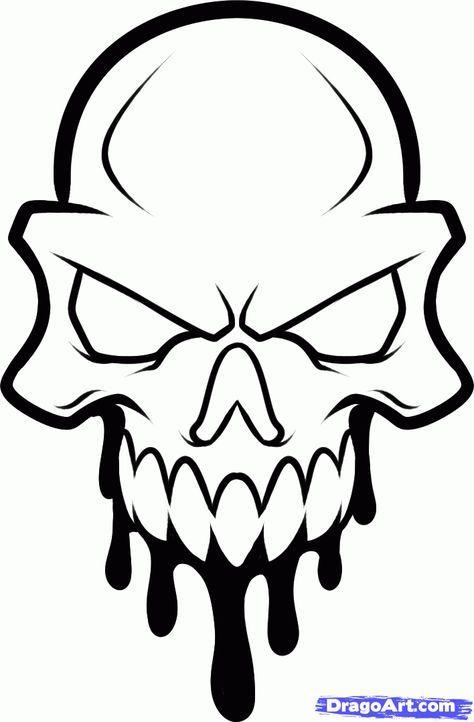 474x722 How To Draw A Skull Head, Skull Head Tattoo, Step