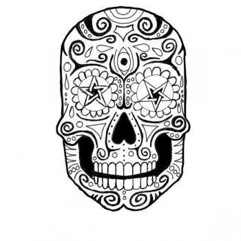 350x350 How To Draw A Sugar Skull, Step
