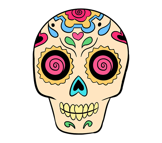 678x600 How To Draw A Sugar Skull Step