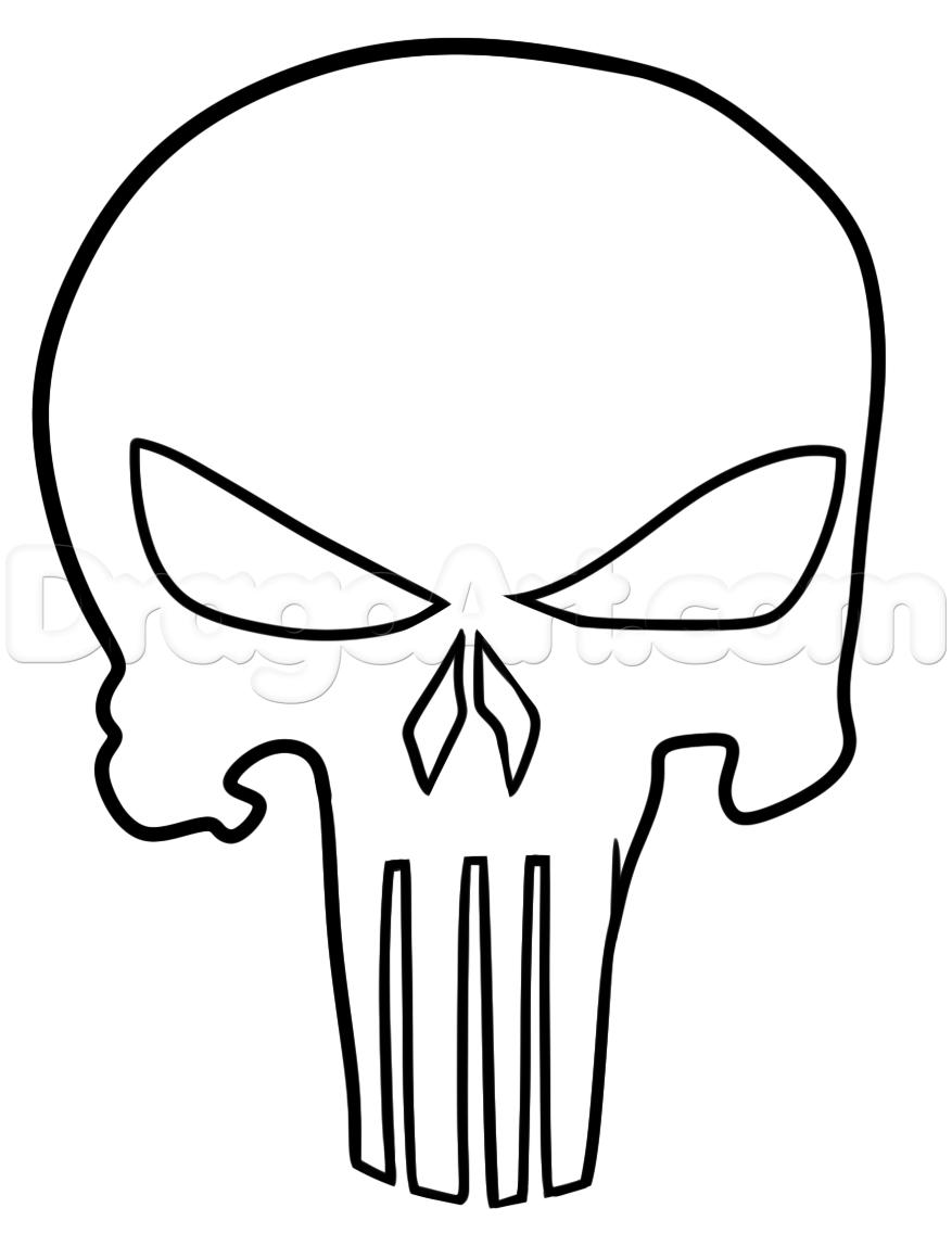 877x1148 Punisher Tattoo Drawing Tutorial, Step