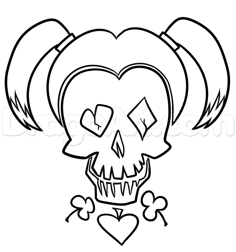 794x849 Draw Suicide Squad Harley Quinn Skull, Step